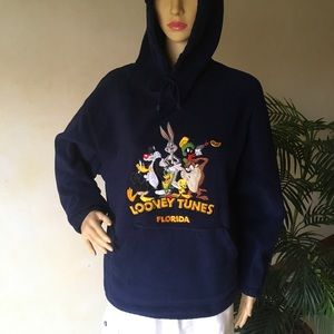 Vintage Looney Tunes Fleece Hoodie Embroidered